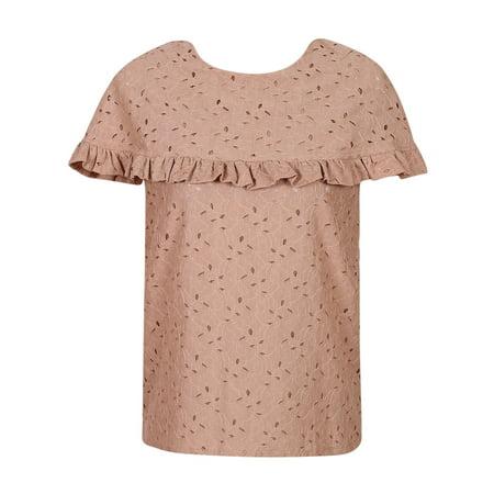 Girls Khaki Ruffle Trim Cape Collar Lace Top One Size