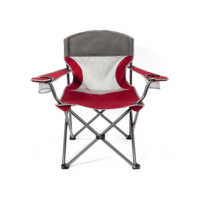 Mac Sports Heavy Duty Big Comfort Quad XL Folding Outdoor Camping Chair, Red