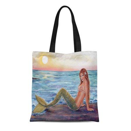 NUDECOR Canvas Tote Bag Painting Selene Mermaid in Sunrise Beach Reusable Handbag Shoulder Grocery Shopping Bags - image 1 of 1