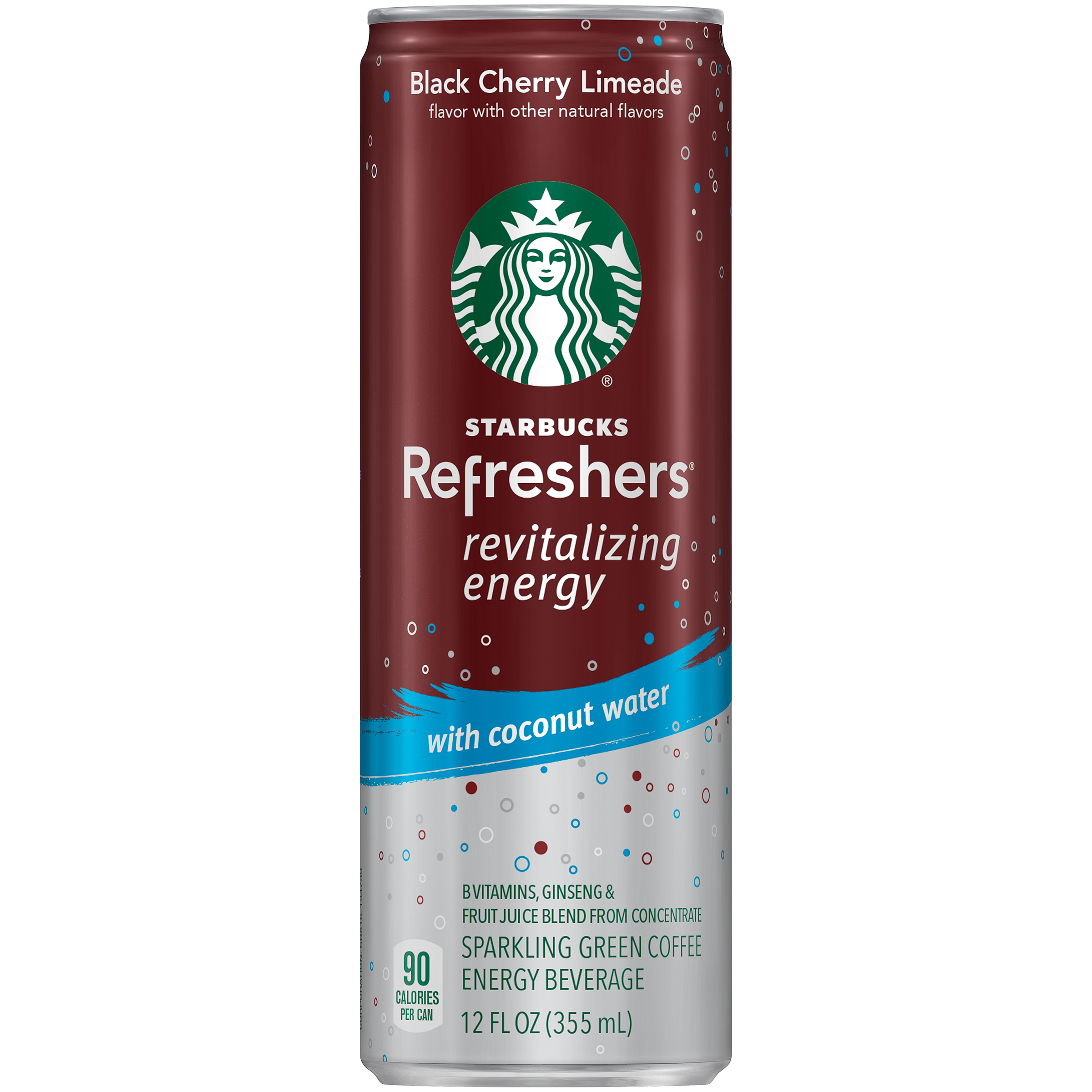 Starbucks Refreshers® Black Cherry Limeade Sparkling Green Coffee Energy Beverage 12 fl. oz. Single Sleek Can