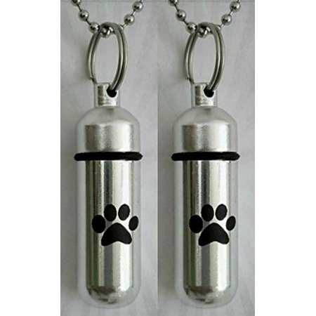 TWO Pet/Dog/Cat - Laser Engraved CREMATION URN Keepsakes with Simple Black PAW - Includes Velvet Pouches, Ball-Chain & Fill