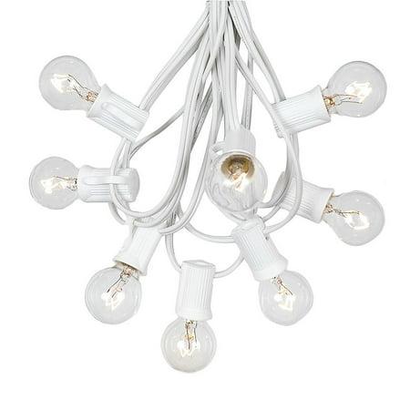 G30 Patio String Lights with 25 Clear Globe Bulbs – Wedding Outdoor String Lights – Market Bistro Café Hanging String Lights – Patio Garden Umbrella Globe Lights - White Wire - Bulb String Lights