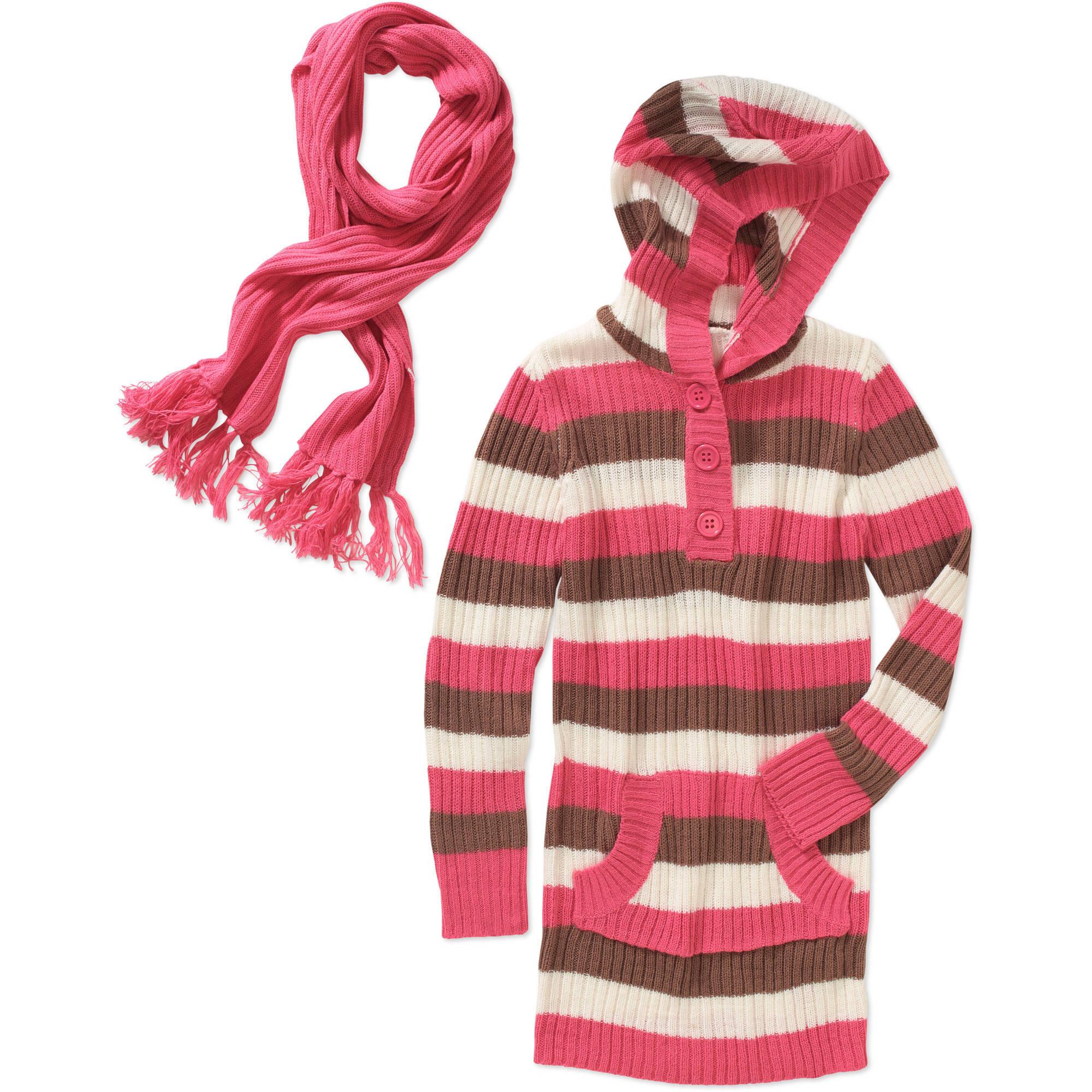 Derek Heart Girls' Stripe Hooded Sweater with Scarf