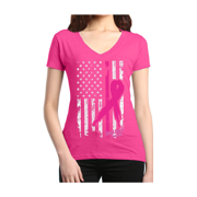 Pink Ribbon American Flag Women's V-Neck T-shirt Breast Cancer Awareness Shirts