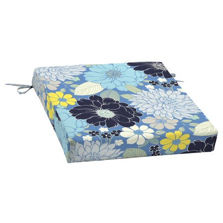 Mainstays Blue Floral Bell Gardens Outdoor Patio 21 x 21 in. Dining Seat Cushion ()