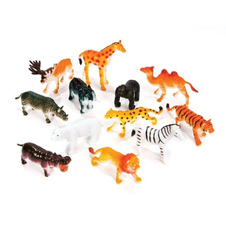 12 Little Zoo Animals, Made of Vinyl plastic By Rhode Island Novelty