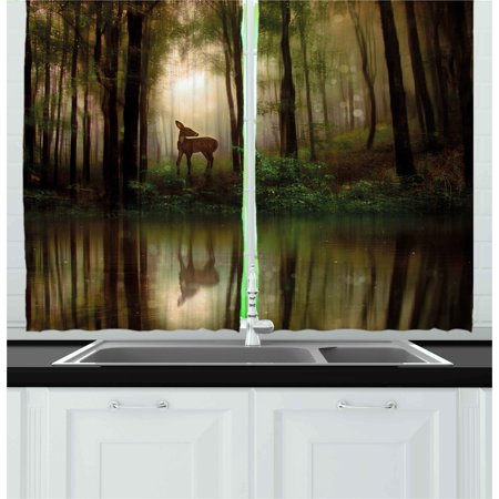- Nature Curtains 2 Panels Set, Baby Deer in the Forest with Reflection on Lake Foggy Woodland Graphic, Window Drapes for Living Room Bedroom, 55W X 39L Inches, Fern Green Cocoa Brown, by Ambesonne