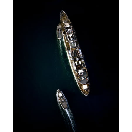 LAMINATED POSTER Overhead view of the U.S. Navy repair ship USS Jason (AR-8) and two tugs at Apra harbor, Guam, in 19 Poster Print 24 x 36 (Overhead Coins)