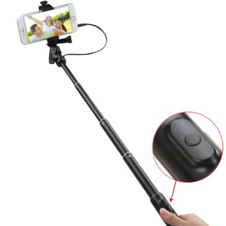 insten black handheld wired selfie stick tripod monopod for android ios smartphone galaxy s6 s6. Black Bedroom Furniture Sets. Home Design Ideas