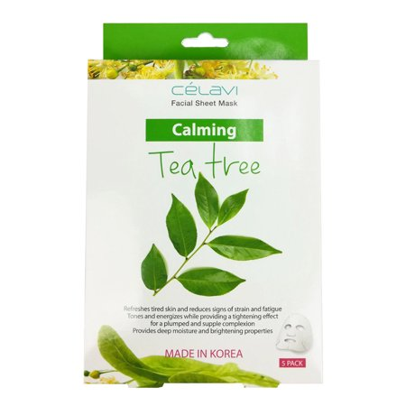 (Celavi Essence Facial Mask Paper Sheet Korea Skin Care Moisturizing 5 Pack Box (Tea Tree))