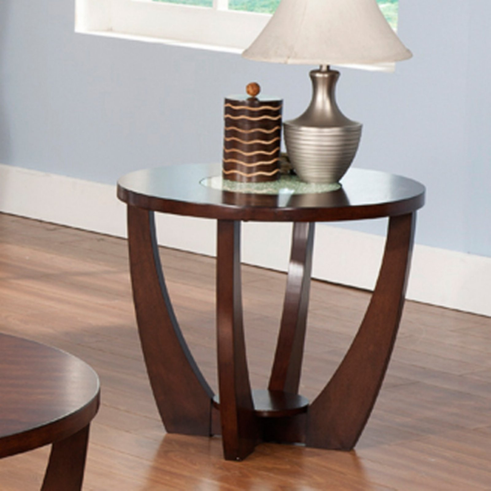 Steve Silver Rafael Round Cherry Wood and Glass End Table
