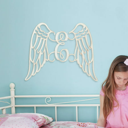 Personalized Large Antique White Wings Wood Plaque (Wings Plaque)
