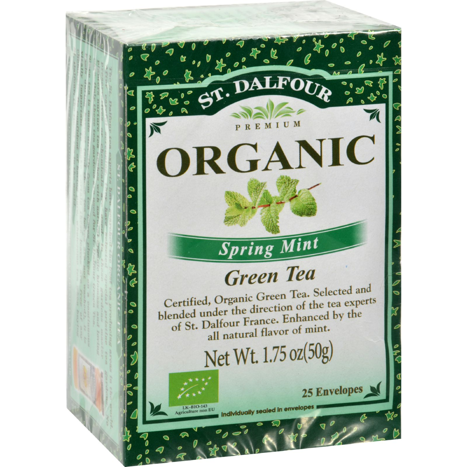 St Dalfour Organic Green Tea Spring Mint - 25 Tea Bags - Case