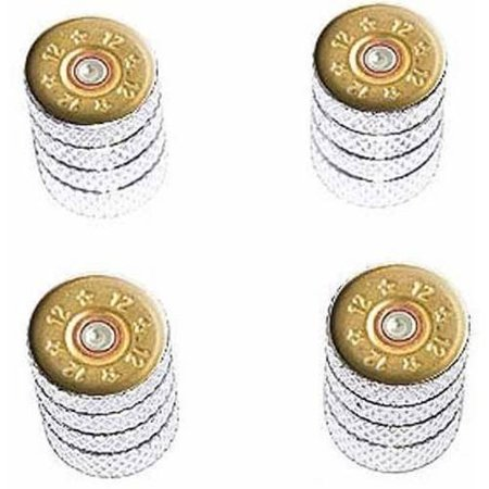 - 12 Gauge Bullet Shell Ammo Tire Rim Wheel Aluminum Valve Stem Caps, Multiple Colors