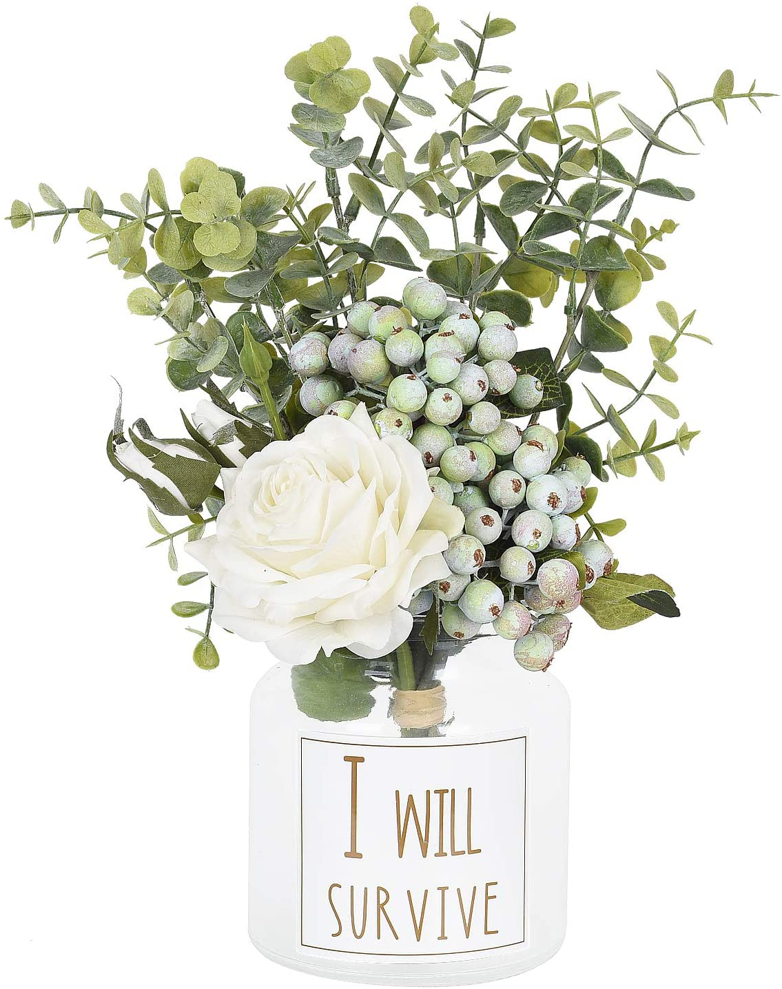 Coolmade Artificial Flowers Rose Bouquet Flower Arrangements Fake Rose Berry Eucalyptus Leaves Decor For Home Living Room Bathroom Walmart Com Walmart Com