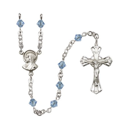 Sterling Silver Rosary 5mm March Blue Swarovski Rundell-Shaped beads Crucifix sz 1 1/4 x 3/4. Madonna medal - Madonna Medal