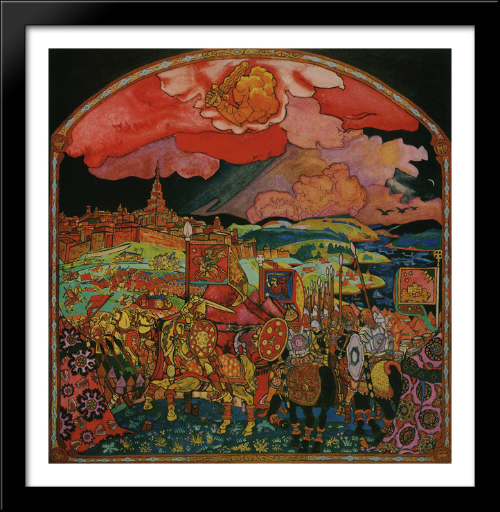 Conquest of Kazan 28x28 Large Black Wood Framed Print Art by Nicholas Roerich