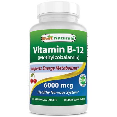 Best Naturals Vitamin B-12 as Methylcobalamin (Methyl B12), 6000 mcg 120 Sublingual