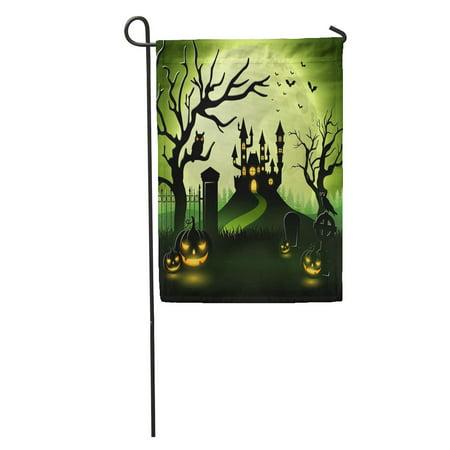 KDAGR Green House Halloween Castle and Scary Pumpkins Gravestone Happy Garden Flag Decorative Flag House Banner 12x18 inch - Halloween Gravestone Ideas