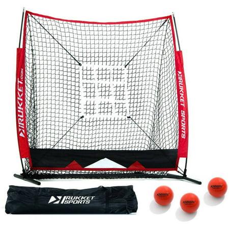 Rukket Baseball & Softball 5x5 Practice Hitting Net PRO Bundle w/ 3 Training Balls & Strike Zone