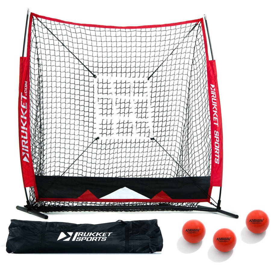 Rukket Baseball & Softball 5x5 Practice Hitting Net PRO Bundle w/ 3 Training Balls & Strike Zone