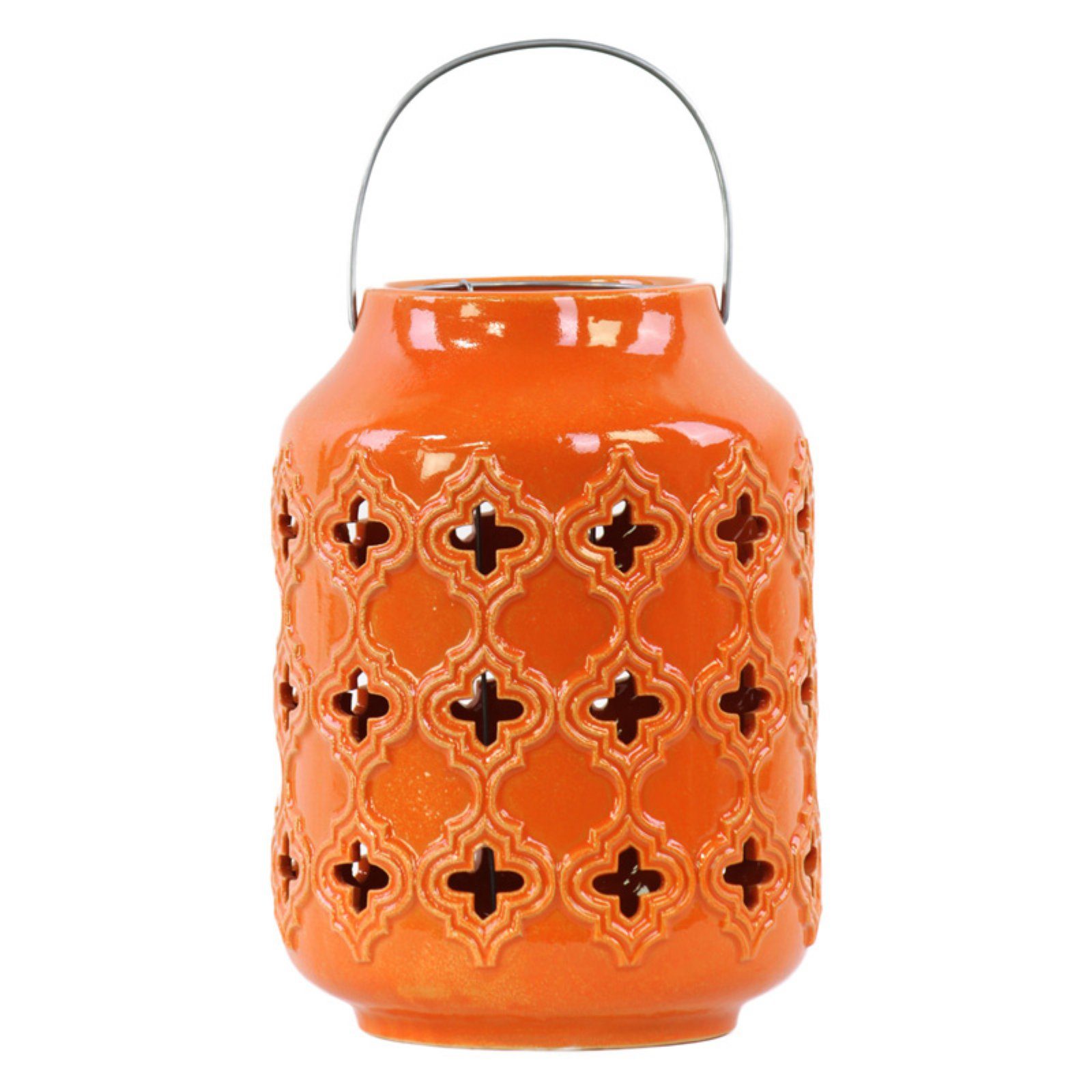Urban Trends Collection: Ceramic Hand Lantern, Gloss Finish, Blue