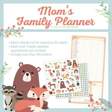 mom's family planner 2018 wall calendar - walmart