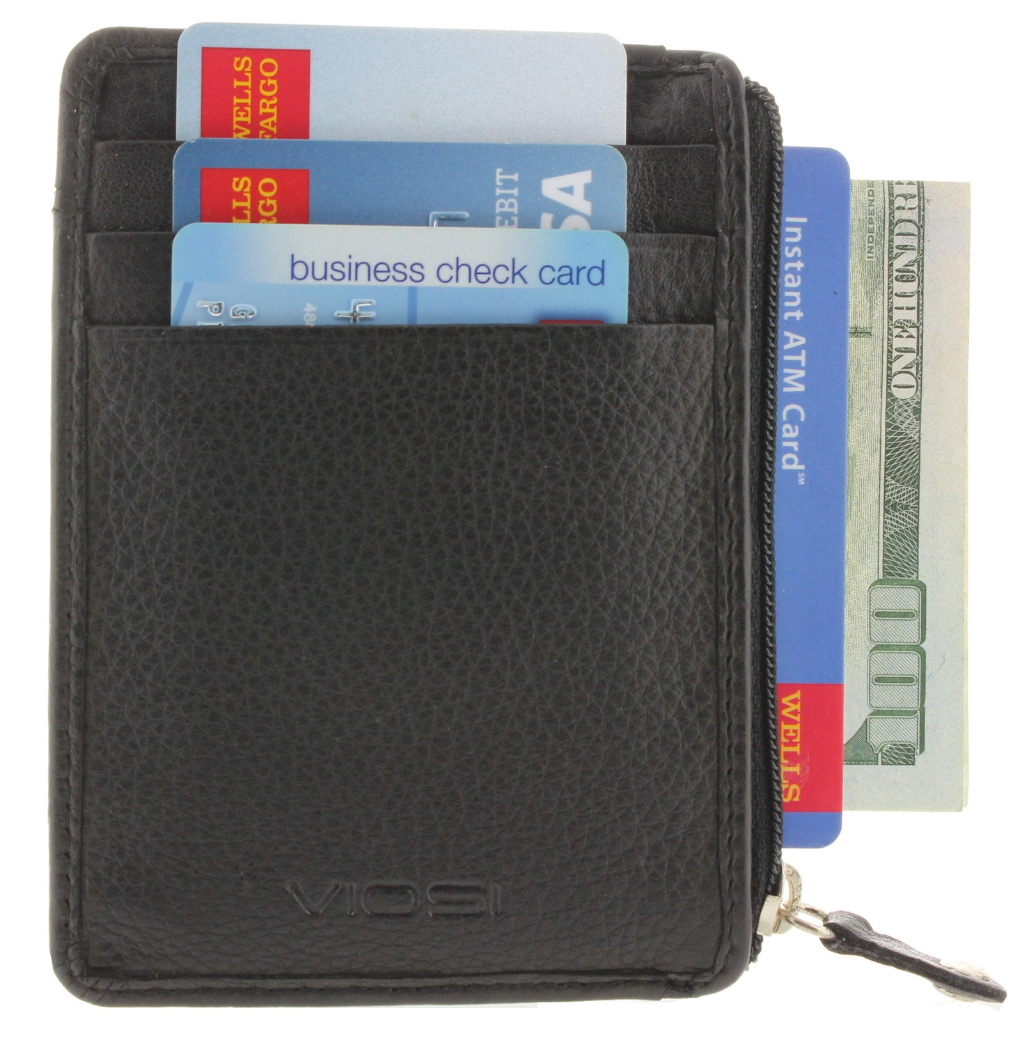 Viosi RFID Blocking Front Pocket Mens Leather Wallet with Zipper and ID Window