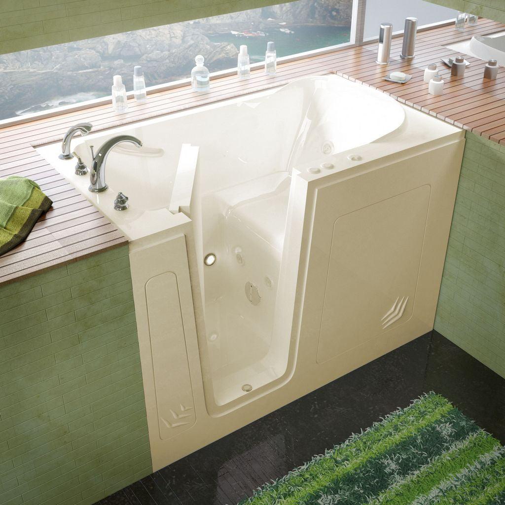 Meditub 30x54 Left Drain Biscuit Whirlpool Jetted Walk-In Bathtub