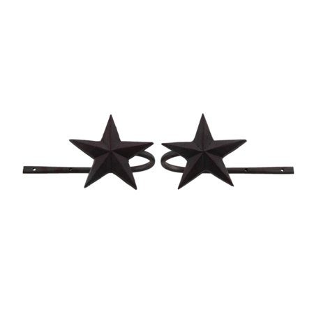 Dark Rustic Red Star Set of 2 Metal Curtain -