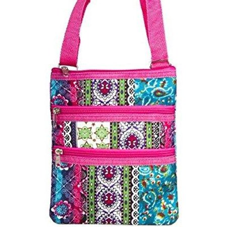 boho patchwork print with hot pink trim small hipster cross body shoulder bag purse - Handbag Copper Quilt