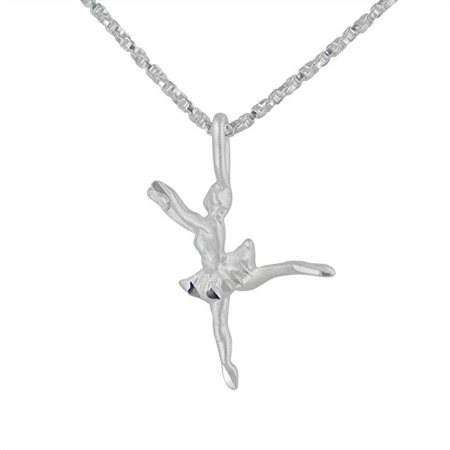 Sterling Silver Ballerina Dancer Charm Pendant Necklace (Ballerina Charm)