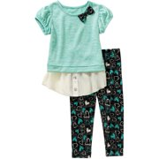Toddler Girl Short Sleeve Hacci 2-Fer and Printed Leggings Outfit Set