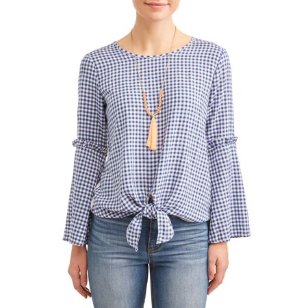 Women's Mini Gingham Tie Front Top with