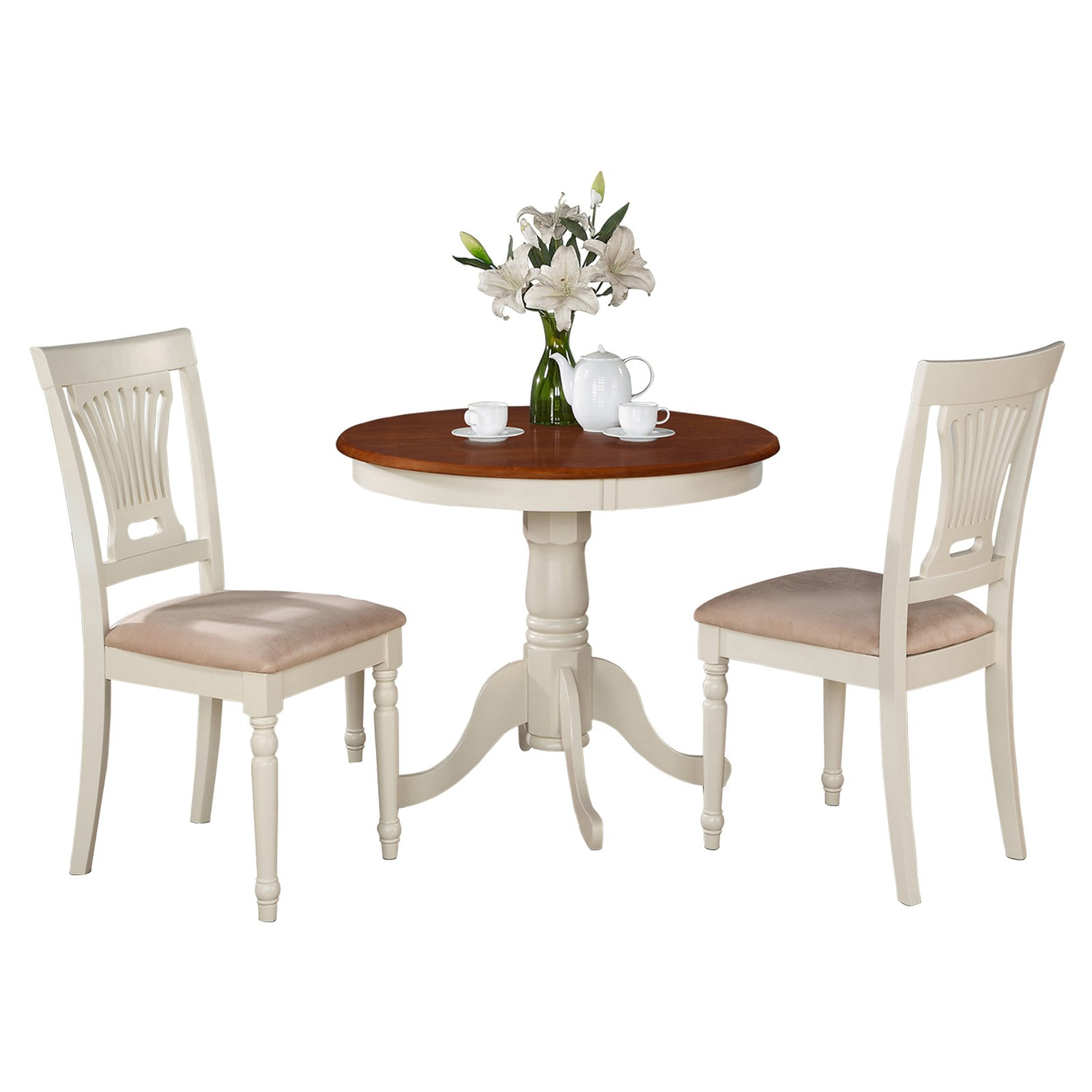 East West Furniture Antique 3 Piece Pedestal Round Dining Table Set with Plainville Microfiber Seat Chairs