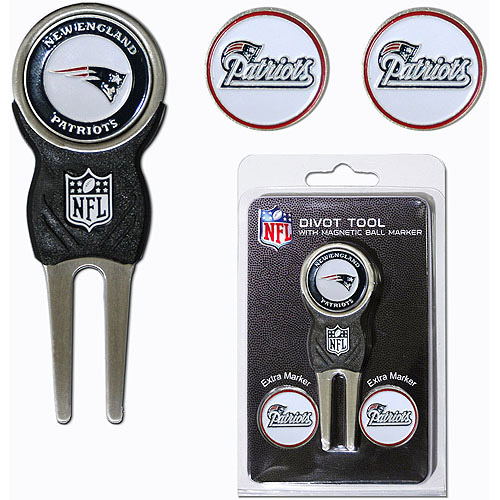 Team Golf NFL New England Patriots Divot Tool Pack With 3 Golf Ball Markers