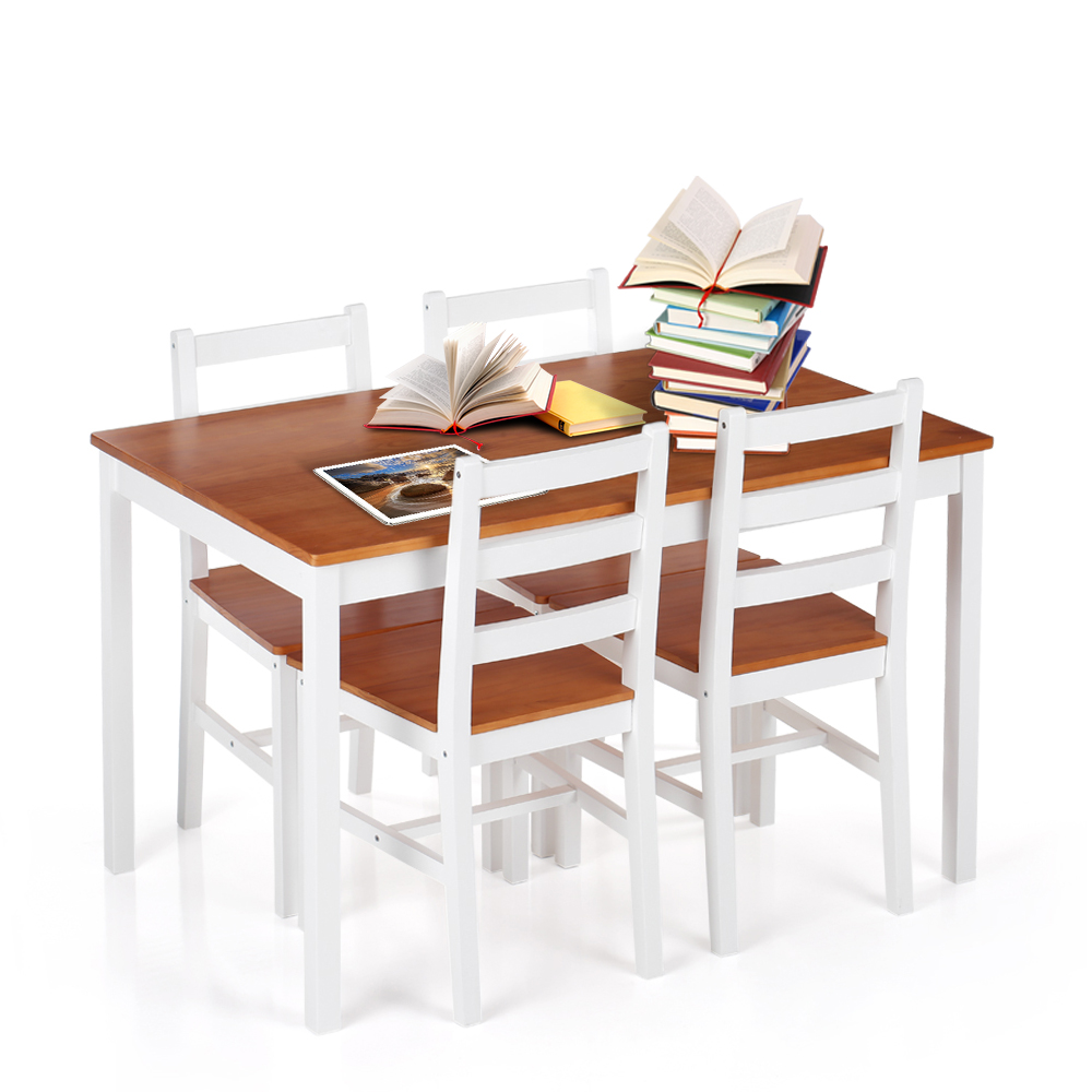 Ordinaire IKayaa Modern 5PCS Pine Wood Dining Table Set Kitchen Dinette Table With 4  Chairs