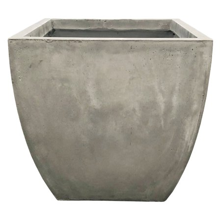 Durx-litecrete Lightweight Concrete Flared Square Light Grey Planter-Medium