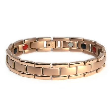 Novoa Mens Quad Element Rose Gold Colored Titanium Magnetic Bracelet   12 800 Gauss B430qm