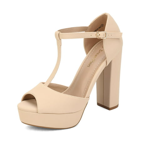 DREAM PAIRS Women's T-Ankle Strap Wedding Dress Sandals Open Toe Chunky Heels Platform Shoes JESSICA-02 NUDE/NUBUCK Size 8.5