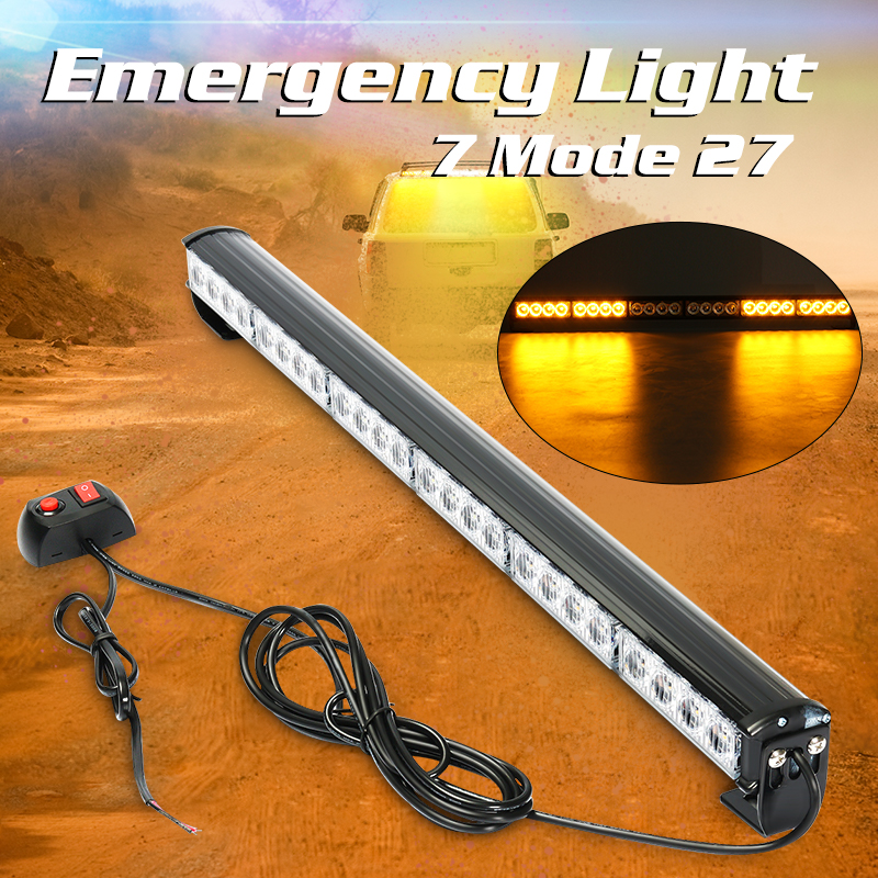 24 LED Amber/White Car Truck Emergency Beacon Warning Flash Strobe Light  27Inch