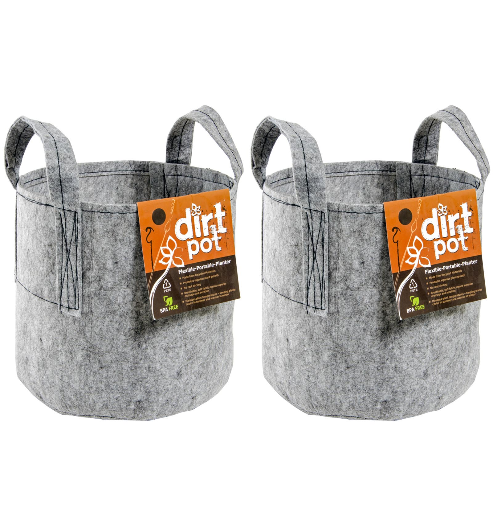 (2) HYDROFARM HGDB30 30 Gallon Portable Dirt Pot Garden Planters | 24 x 16.5""