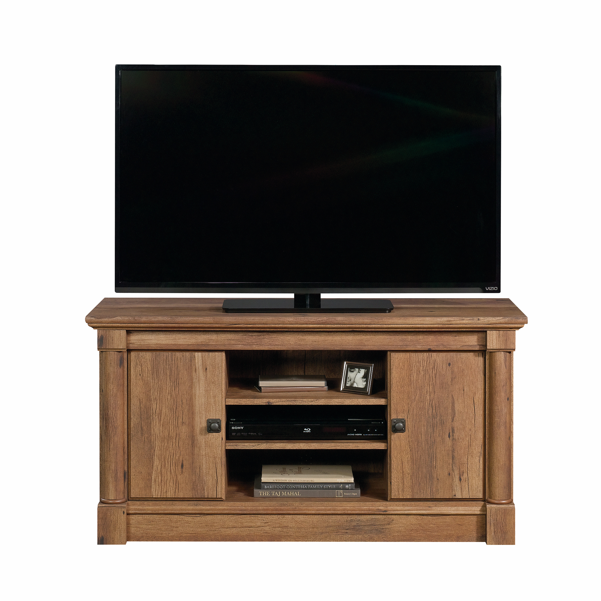 Sauder Palladia Panel Tv Stand For Tvs Up To 50 Vintage Oak Finish