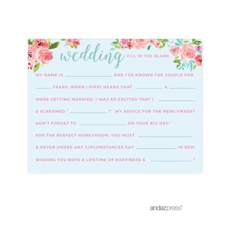 Wedding Pink Roses English Tea Party, 20-Pack Reception Fill in the Blanks Game - Reception Games