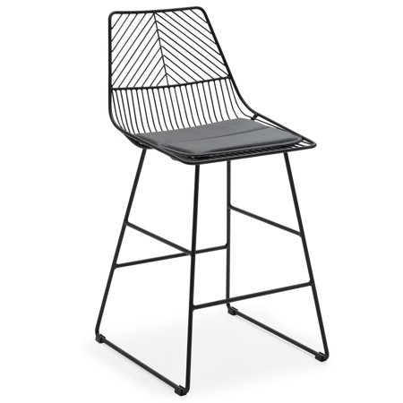 Surprising Modrn Scandinavian Metal Counter Stool With Cushion Caraccident5 Cool Chair Designs And Ideas Caraccident5Info