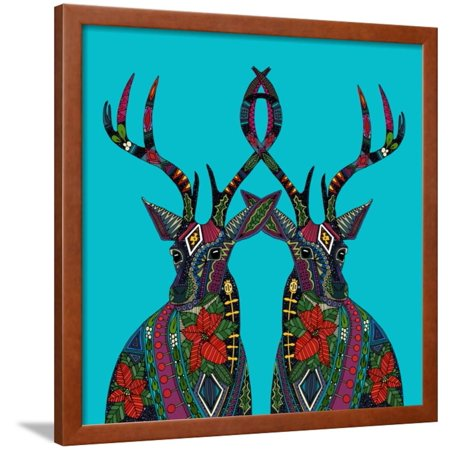 - Poinsettia Deer Blue Framed Print Wall Art By Sharon Turner