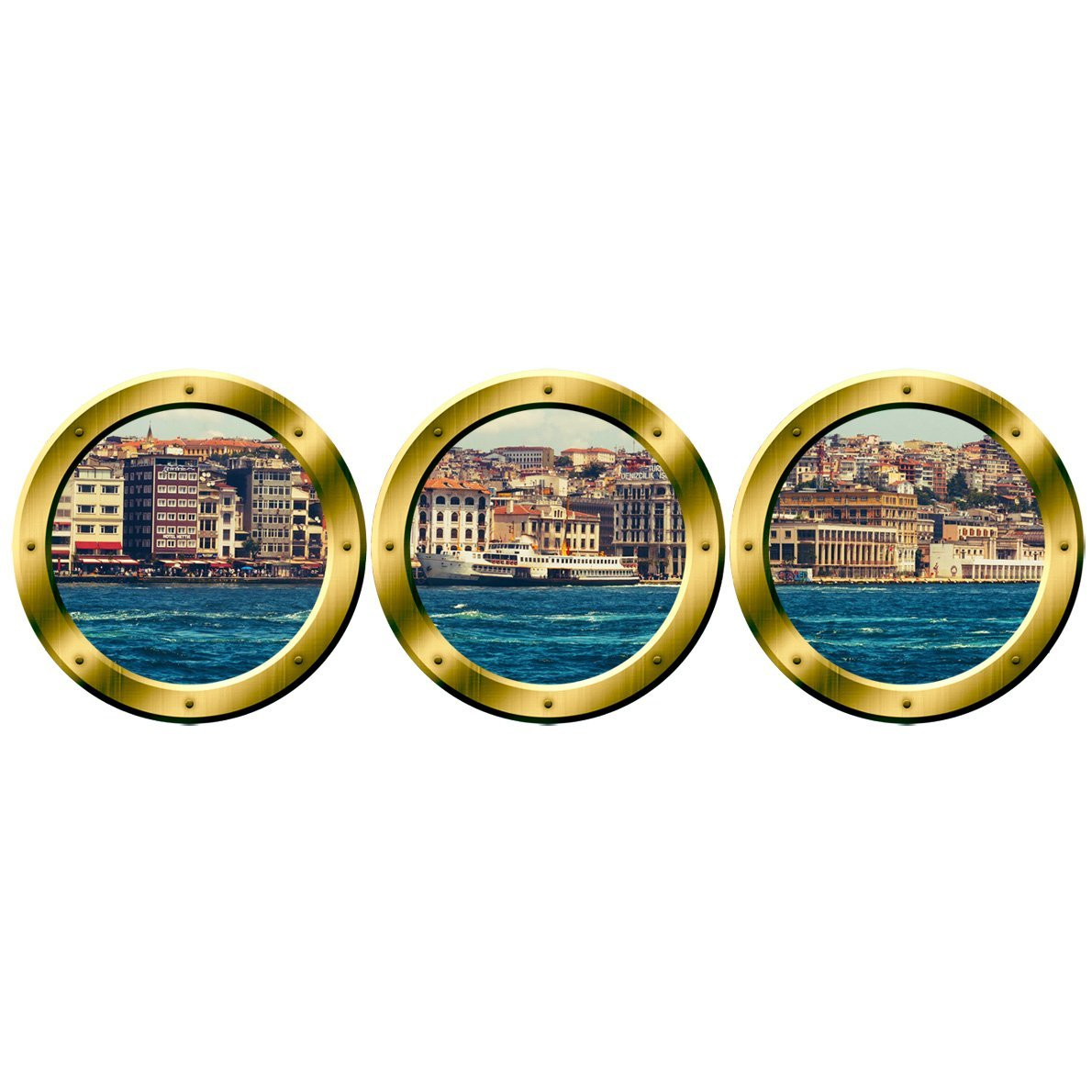 image relating to Printable Wall Murals named VWAQ Town Skyline Wall Murals, Porthole Cityscape Stickers - Peel Adhere Decals - VWAQ-SPW5 (20\