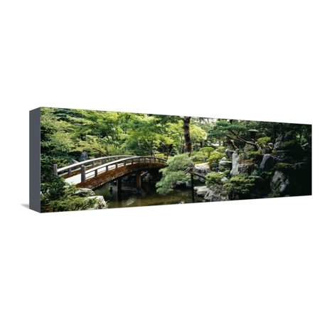 Footbridge across a Pond, Kyoto Imperial Palace Gardens, Kyoto Prefecture, Japan Stretched Canvas Print Wall