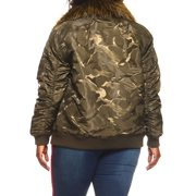 67ff9eb8e Womens Plus Size Winter Faux Fur Puffer Bomber Parka Jacket  RJK-728P-3XL-Olive/Khaki