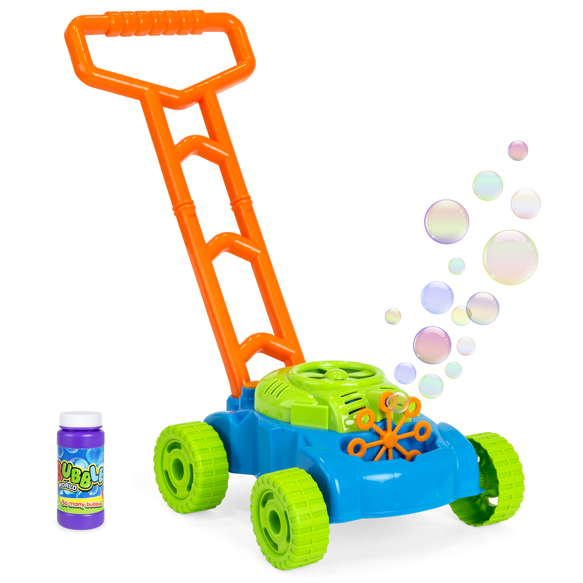 Double Bubble Mower Electronic Bubbles Maker Machine Garden Lawnmower Grass Toy